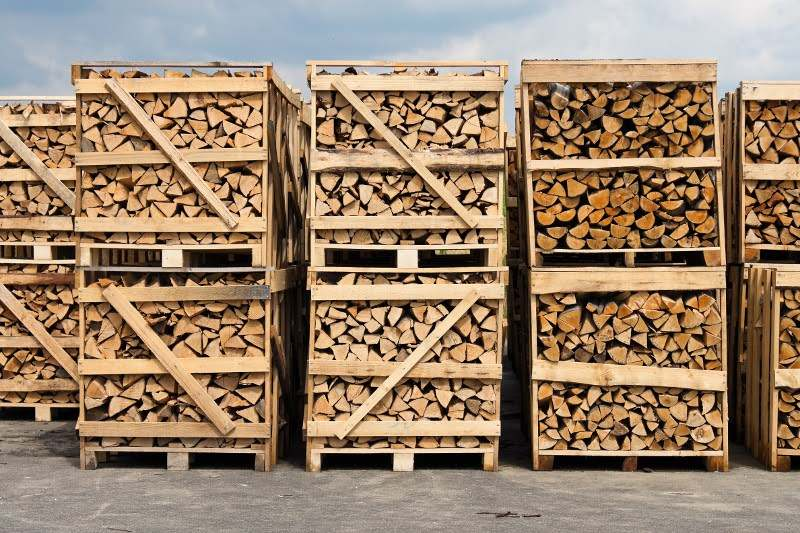 a large stack of wood for firewood. packed on pallets